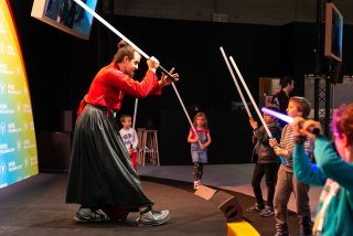 Laser saber fights and demonstrations