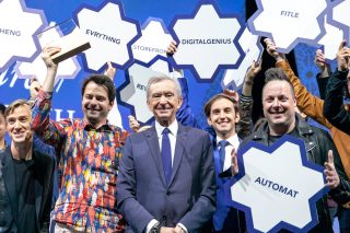 Winners of the LVMH Innovation Award together with Bernard Arnault and Ian Rogers